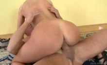 horny blond chick takes his hard cock in her hungry asshole