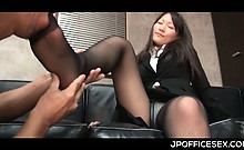 Appealing asian secretary stripped and teased by her horny