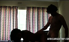 Hot ass Afro sex queen cunt banged doggy by white stud