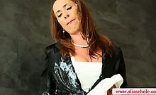 Brunette classy babe slapping gloryhole cock