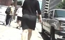Curvy Woman Going For A Walk Outside